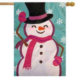 Waving Snowman Winter Applique House Flag