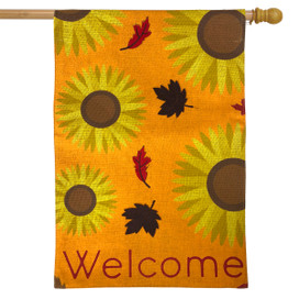 Sunflowers Welcome Fall Burlap House Flag