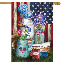 American Picnic Rustic House Flag