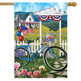 Patriotic Bicycle Summer House Flag