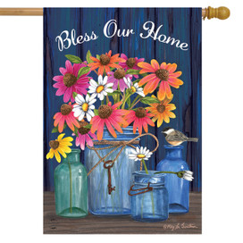 Bless Our Home Mason Jars Summer House flag