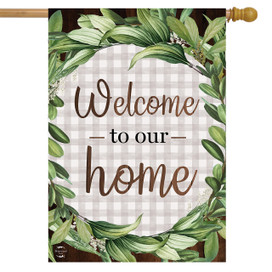 Welcome to Our Home Wreath Everyday Double-Sided House Flag