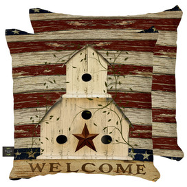 Americana Welcome Patriotic Decorative Pillow