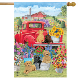 Spring Day Puppies House Flag