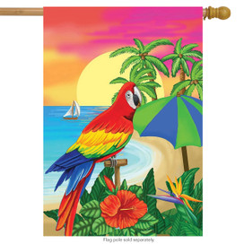 Paradise Parrot Summer House Flag