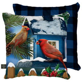 Snow Day Cardinals Winter Decorative Pillow