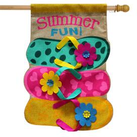 Summer Fun Flip Flops Burlap House Flag