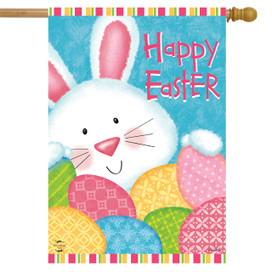 Bunny and Eggs Easter House Flag