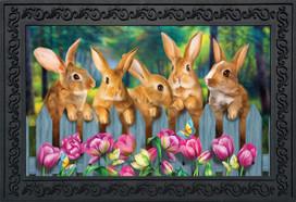 Garden Bunnies Spring Doormat