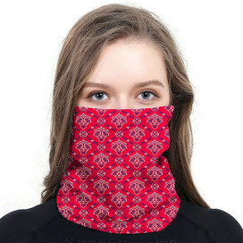 Red Paisley Wrap-Around Face Covering Neck Gaiter