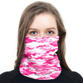 Pink Camouflage Wrap-Around Face Covering Neck Gaiter