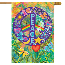 Peace Floral House Flag