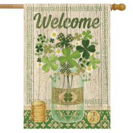 Lucky Clovers St. Patrick's Day House Flag