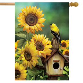 Goldfinch and Sunflowers Summer House Flag