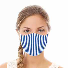 Blue & White Stripes Reusable Cloth Face Mask