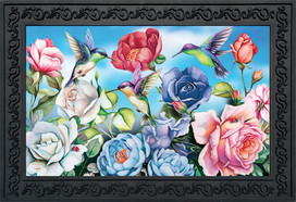 Hummingbird and Roses Spring Doormat