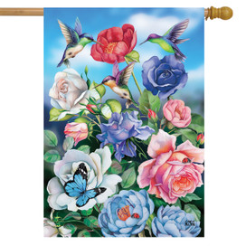 Hummingbird and Roses Spring House Flag