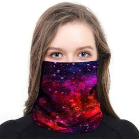 Galaxy Red Wrap-Around Face Covering Neck Gaiter