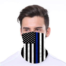 Thin Blue Line Wrap-Around Face Covering Neck Gaiter
