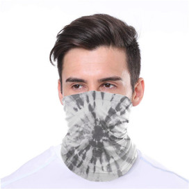 Gray Tie Dye Wrap-Around Face Covering Neck Gaiter