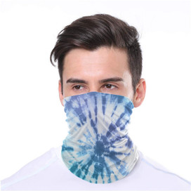 Blue Tie Dye Wrap-Around Face Covering Neck Gaiter