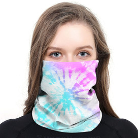 Pink & Aqua Tie Dye Wrap-Around Face Covering Neck Gaiter