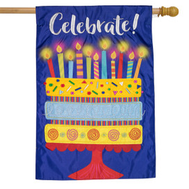 Celebrate Cake Applique House Flag