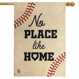 No Place Like Home Baseball Burlap House Flag