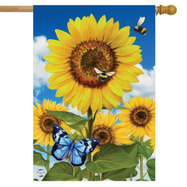 Sunflowers and Bees Spring House Flag