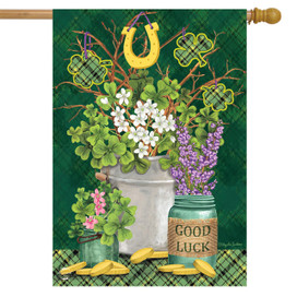 Lucky Potted Shamrocks St. Pat's House Flag