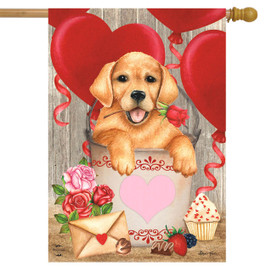 Valentine's Puppy Holiday House Flag