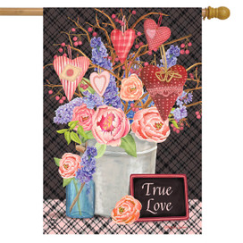 Flowers and Hearts Valentine's Day House Flag