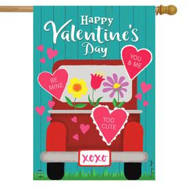 Happy Valentine's Pickup House Flag