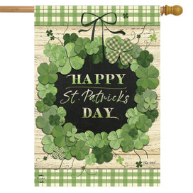 Lucky Wreath St. Patrick's Day House Flag