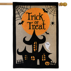 Trick or Treat Halloween Burlap House Flag