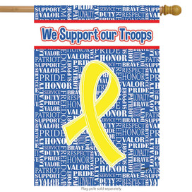 Support Our Troops Yellow Ribbon Patriotic House Flag