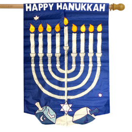 Happy Hanukkah Applique House Flag