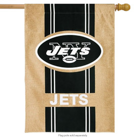 New York Jets Burlap NFL Licensed House Flag