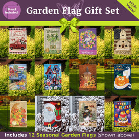 Ultimate Garden Flag Gift Set  - 12 Flags & 3-Piece Stand