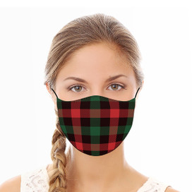 Red and Green Check Reusable Cloth Face Mask