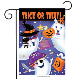 Trick or Treat Ghosts Garden Flag