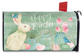 Easter Bunny and Tulips Primitive Large Mailbox Cover
