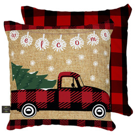 Red Checkered Truck Christmas Decorative Pillow