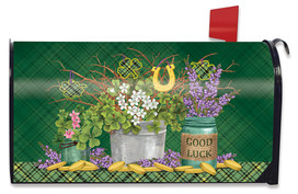Lucky Potted Shamrocks St. Patrick's Day Large Mailbox Cover