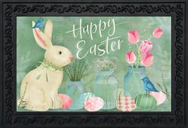 Easter Bunny and Tulips Primitive Doormat