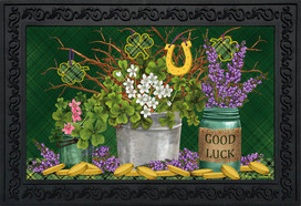 Lucky Potted Shamrocks St. Pat's Doormat