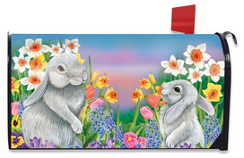 Spring Friends Bunnies Magnetic Mailbox Cover