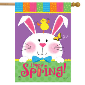 Happy Spring Rabbit Easter House Flag