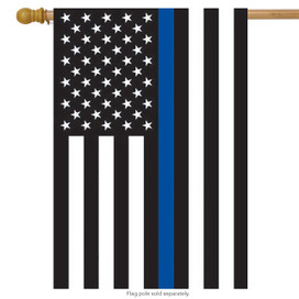 Thin Blue Line Police House Flag