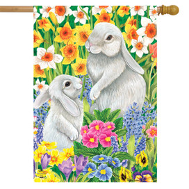 Spring Friends Bunnies House Flag